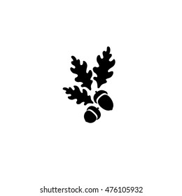 vector illustration with oak's leaves and acorn