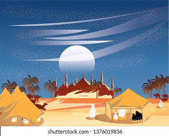 Vector illustration of Oasis in Arabian desert.Bedouin or travellers Islamic in Egypt or desert prays to god in Ramadon Celebration month.Landscape of Muslim cultural tradition and Bedouin Life.