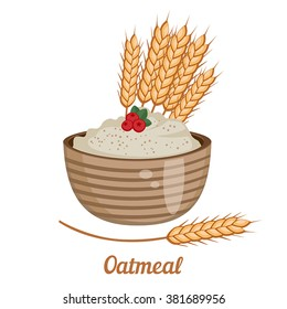 Vector illustration of oatmeal on white  background. Healthy breakfast.