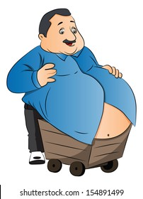 Vector illustration of an obese man carrying his fat stomach on wheelcart.