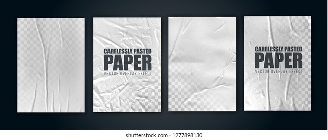 vector illustration object. badly glued white paper. crumpled poster. vector graphics can be applied to any objects with a blending mode for the effect of crumpled wet paper