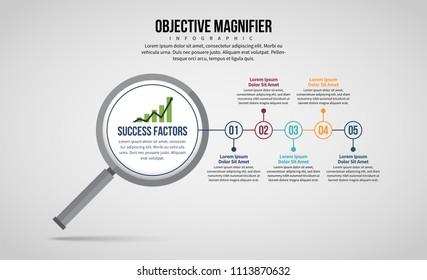Vector illustration of Objective Magnifier Infographic design element.