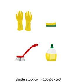 Vector illustration. Objects for dish washing: protecting gloves, sponge, dishwashing detergent, dishwashing brush. Flat, cartoon style objects are isolated on white background. EPS10