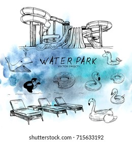 Vector illustration. Vector objects on water park theme. Watercolor style background on back.