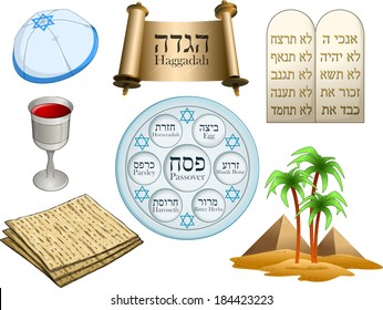 Vector illustration of objects related to the Jewish holiday Passover. Hebrew on top-right are the Ten Commandments. The rest of the Hebrew text has English translation.