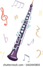 Vector illustration of an oboe. Classical musical instruments. Warm and violet colors.