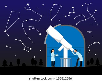 Vector illustration with observatory, night sky and constellations. Telescope in observatory. Astronomy. Scientists astronomers observe the stars.