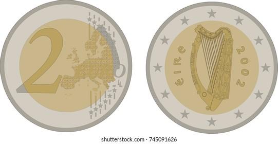 Vector illustration obverse and reverse 2 euro Ireland