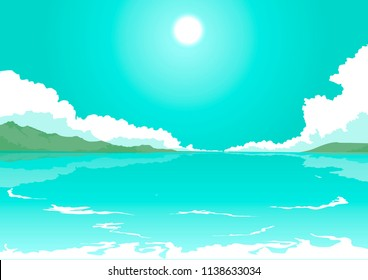 vector illustration of ocean shore, island and cloudy sky. seascape, cloudscape