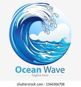 Vector illustration, ocean waves symbol.