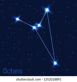Vector illustration of Octans constellation. Astronomical Octant. Cluster of realistic stars in the dark blue starry sky.