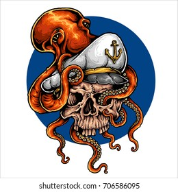 vector illustration of octopus holding captain skull with tentacle