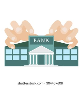 vector illustration off greedy hands reaching bank building. symbol of one of the seven deadly sins.