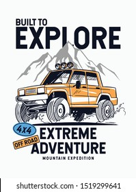 Vector illustration Off Road car. Mountain expedition. For t-shirt print and other uses