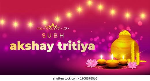 VECTOR ILLUSTRATION OFFER BANNER FOR INDIAN FESTIVAL WITH TEXT  AKSHAYA TRITIYA MEANS  AKSHAYA TRITIYA'