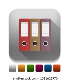 """Vector illustration of office binders - office documents sign """"office supplies"""" file and folder icon. office icon"""