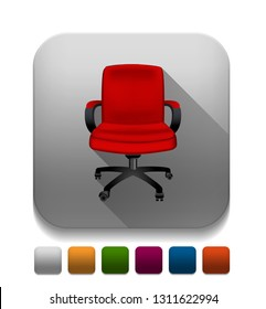 """Vector illustration of office chair - office seat sign """"office chair"""" computer chair icon"""