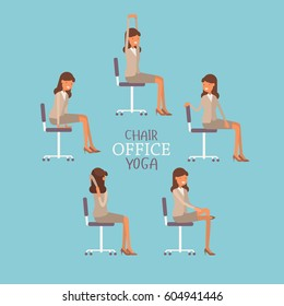 Vector illustration with office chair yoga. Business lady doing workout and stretching. Woman in suit exercising on office chair. Icon set on blue background.