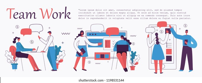 Vector illustration of the office concept business people in the flat style. E-commerce and team work business concept