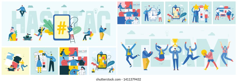 Vector illustration of the office concept business people in the flat style. Hashtag and team work business concept