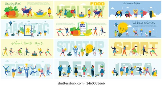 Vector illustration of a office concept. Business people in flat style. Stay mobile, We have solution, Start up and team work business concept