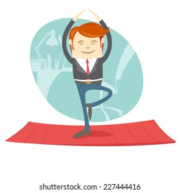Vector illustration Office hipster man practicing tree yoga pose near his workplace