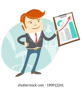 Vector Illustration of  Office man showing a graph