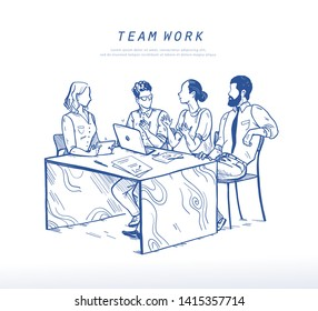 Vector illustration of office people discussing at table, teamwork, collaboration concept. Online business solutions, support. Sketch style drawing of  brainstorming, startup. Mobile app, ui, web