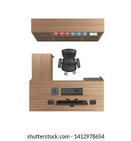 Vector illustration. Office room. Top view. Office desk, chair, office cabinet, computer and items. (View from above)