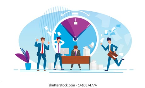 Vector Illustration Office Situation Cartoon. People Experience Psychological Pressure at Work due to Non-compliance with Deadlines. Men in Office are very Nervous on Background Large Hours.