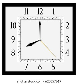 Vector illustration office square clock. Classic black and white  wall clock isolated on white. Clock on wall shows eight o'clock