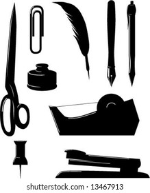 Vector Illustration of Office Supplies