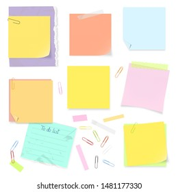 Vector illustration of office supplies: todo list, sticky notes, adhesive tapes and paperclips. Isolated set in different colors with accessories. Editable mockups of note pads for your own projects.