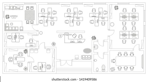 Vector illustration. Office. Top view. Working space.  Office room, meeting room, reception, restroom, office furniture, cabinets, desks, chairs, computers. View from above.