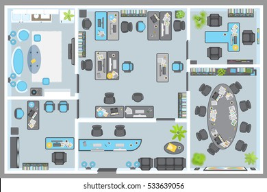 Vector illustration. Office. Top view. Working space. Cabinets, reception, lounge, furnished. View from above.