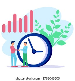 Vector illustration, office worker with a large clock on a white background, the concept of working time management, quick response to enlightenment, time transfer back. Establish business deals.