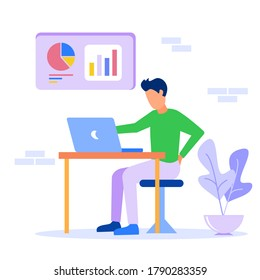 Vector illustration. Office workers complete tasks in the room. Exemplary employee. Comfortable office interior. Company business analysis.