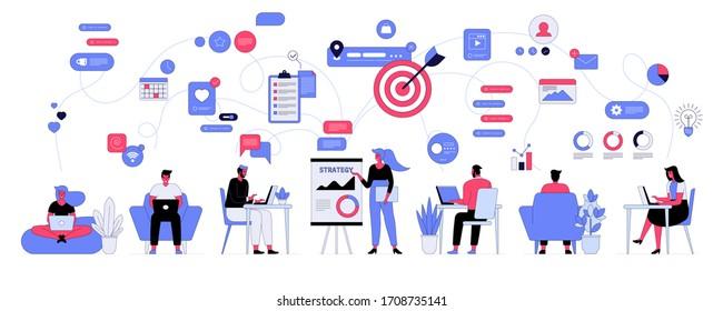 Vektorillustration Illustration von Büroablauf und Teambildung. Die Angestellten von Mann und Frau arbeiten bei der Arbeit zusammen. Manager, Mitarbeiter, die an Laptop oder Computer arbeiten, Online-Kommunikation, Präsentation