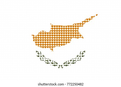 Vector illustration of an official flag of Cyprus  composed of pieces of a mosaic in the form of hearts
