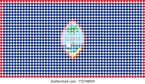 Vector illustration of an official flag of  Guam composed of pieces of a mosaic in the form of hearts
