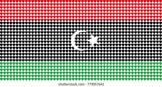 Vector illustration of an official flag of  Libya composed of pieces of a mosaic in the form of hearts