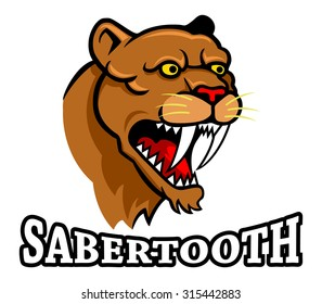 Vector illustration oh saber tooth head