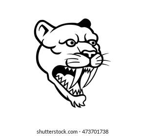 Vector illustration oh saber tooth head line art
