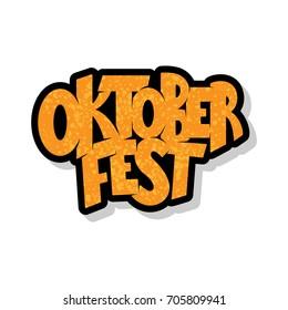 Vector illustration of Oktoberfest logotype. Oktoberfest celebration design on textured background. Happy Oktoberfest lettering typography. Hand sketched Oktoberfest icon. Beer festival badge