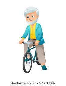 vector illustration of an old active man with mustache and beard, who is dressed in a elegant suit. He is ready to go on a bike.