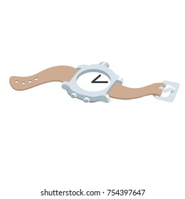 vector illustration of an old analog wrist watch