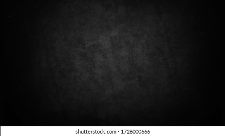 Vector illustration of old black background soft white watercolor grunge texture style center for adding your text. Dark wallpaper. Blackboard. Chalkboard