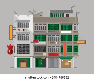 Vector illustration of an old building of Hong Kong-styled Tenement Houses (Shophouses). (Translation of Chinese word: Pawn)