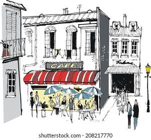 Vector illustration of old buildings, cafe, restaurant diners, and pedestrians, France.