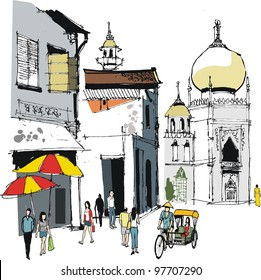Vector illustration of old buildings and people in Singapore